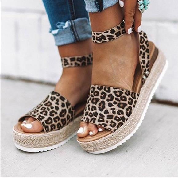 Cheetah Platform Sandals Wedges Shoe